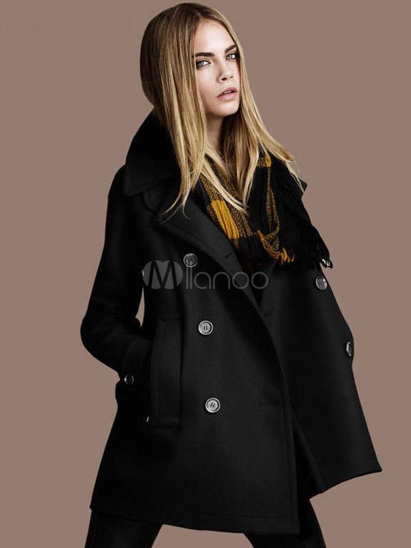 Chic Manteau Femme Mode En Laine Avec Revers Crant 233 Crois 233