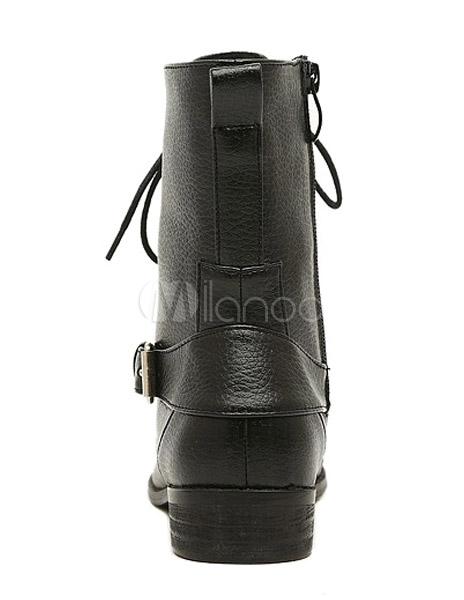 stilvolle biker boots aus pu mit schn ren in schwarz. Black Bedroom Furniture Sets. Home Design Ideas