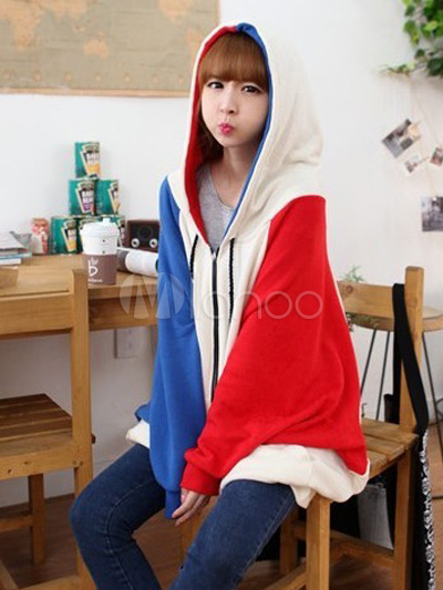 Sweet Multi Color Two-Tone Cotton Hoodie For Women