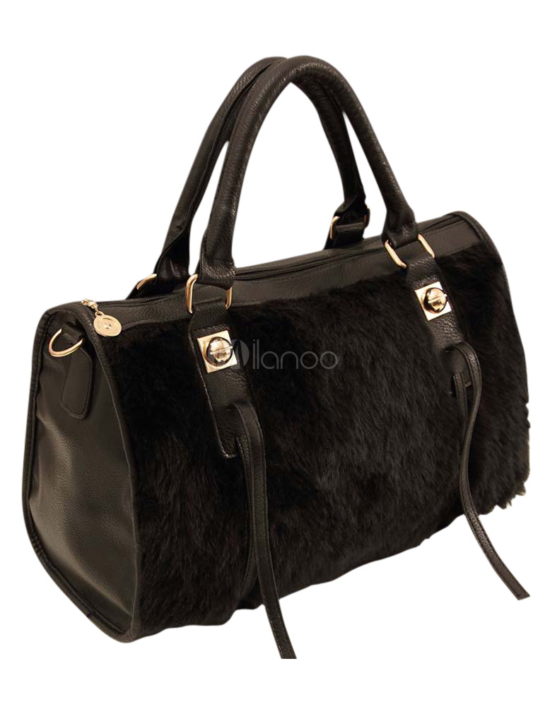 Black Rabbit Fur Beautiful Women's Tote Bag