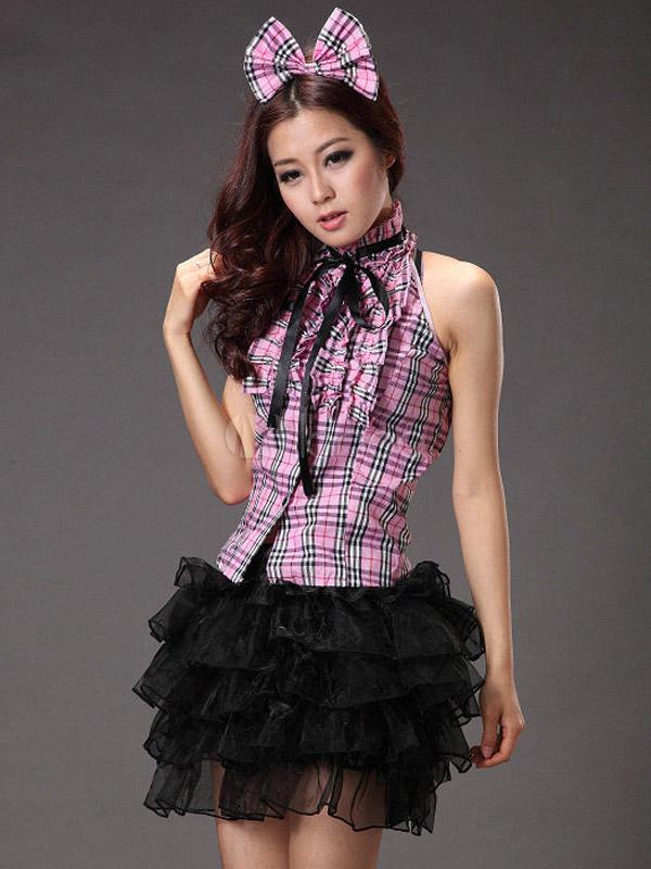 sexy costume plaid coton m lange f minin de princesse. Black Bedroom Furniture Sets. Home Design Ideas
