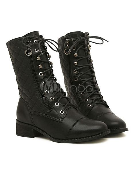 biker boots aus pu mit karo muster und schn ren in schwarz. Black Bedroom Furniture Sets. Home Design Ideas
