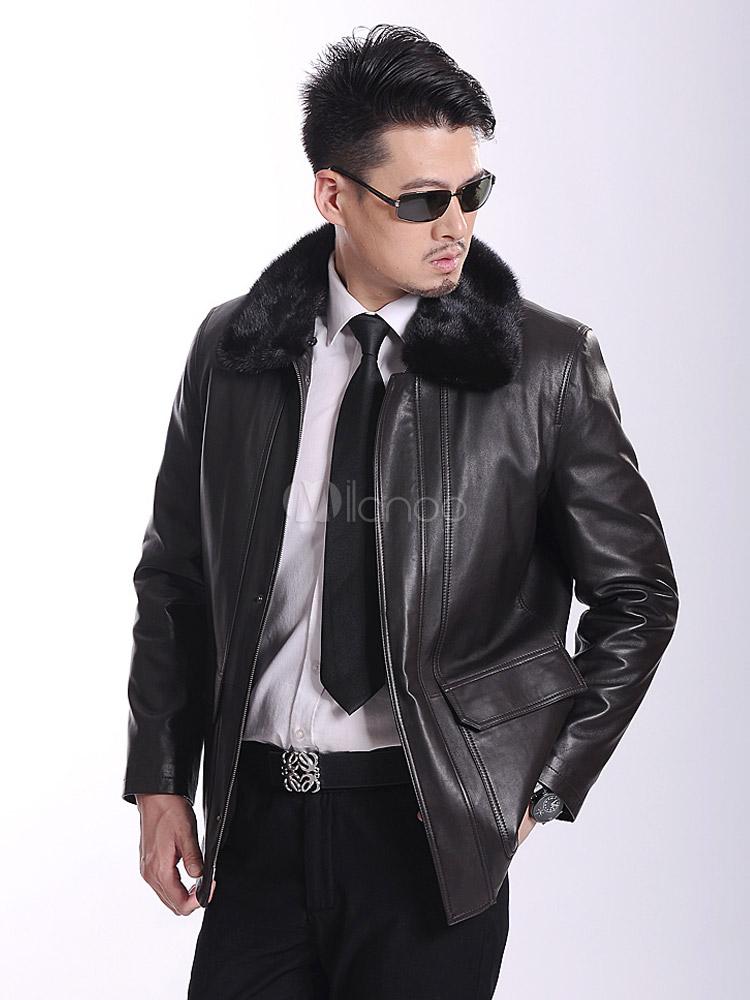 veste homme en cuir noir avec poches col de fourrure. Black Bedroom Furniture Sets. Home Design Ideas