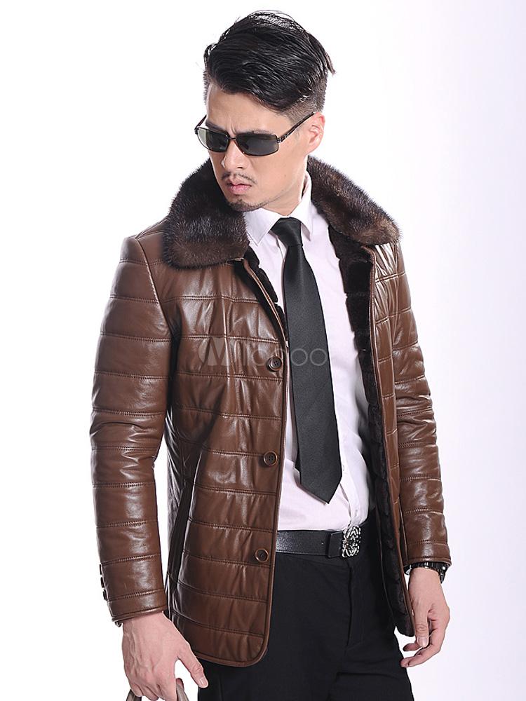 veste homme en cuir marron avec doublure de pois de lapin. Black Bedroom Furniture Sets. Home Design Ideas