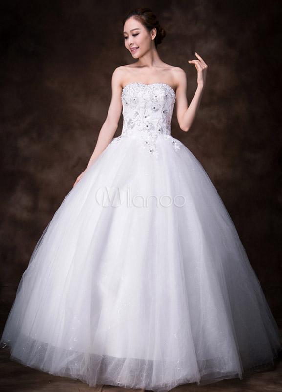 robe de mari e gracieuse boule blanche bustier en tulle