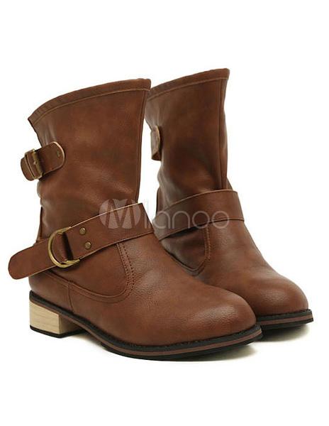 Soutenues bottines plates en pu marron avec pattes boucl es - Tenue avec bottines marron ...