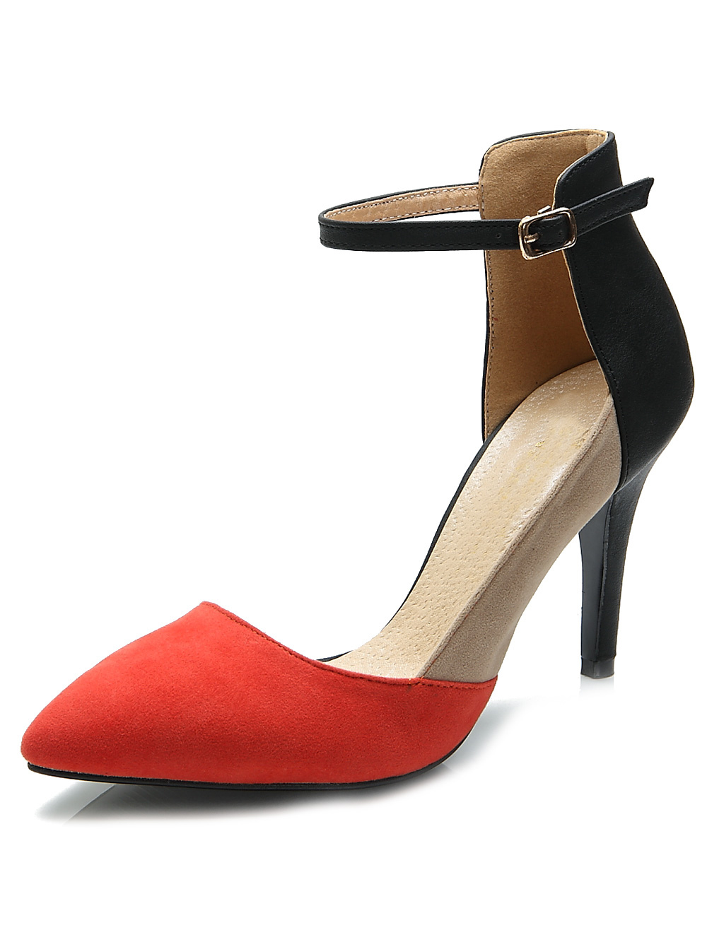 Pretty Red Stiletto Heel Suede Leather Women's Pointy Toe Heels thumbnail