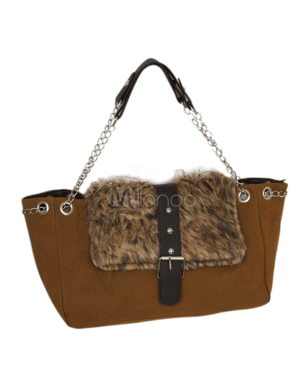 Tan Horizontal Shape PU Leather Pretty Fur Women's Shoulder Bag