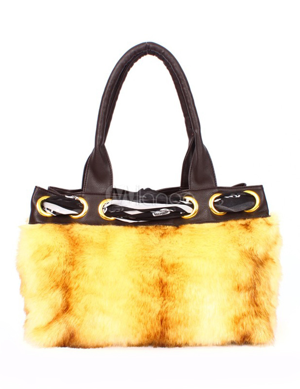 Yellow Fur Faux Fur Chic Women's Tote Bag