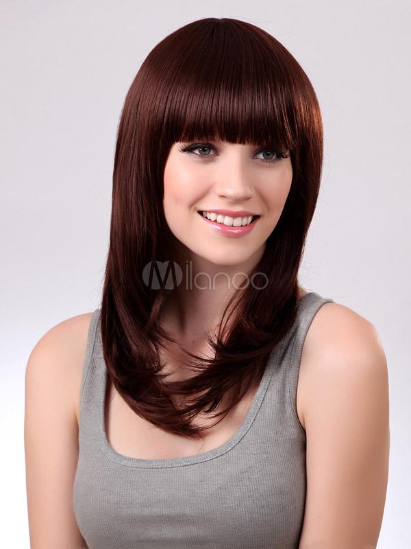 D licate perruque longue frange droite brun acajou synth tique mode - Couleur brun acajou ...