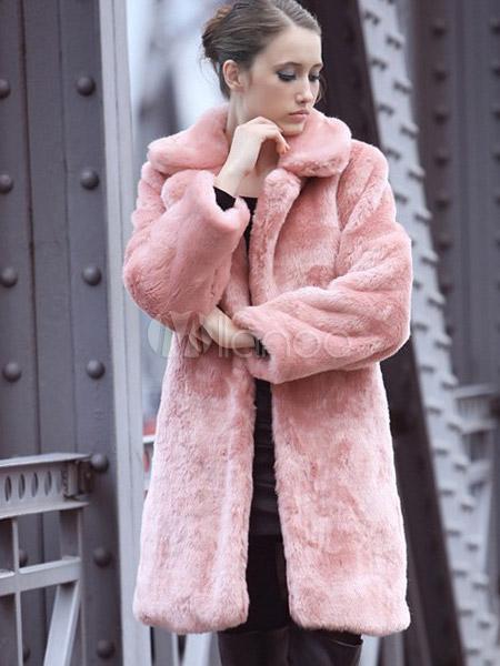 blouissant manteau rose en fausse fourrure revers crant. Black Bedroom Furniture Sets. Home Design Ideas