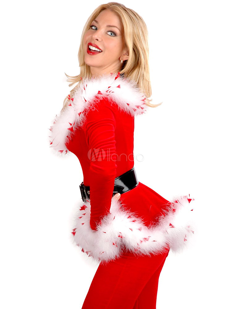 Long sleeves santa clause red women s christmas costumes milanoo com