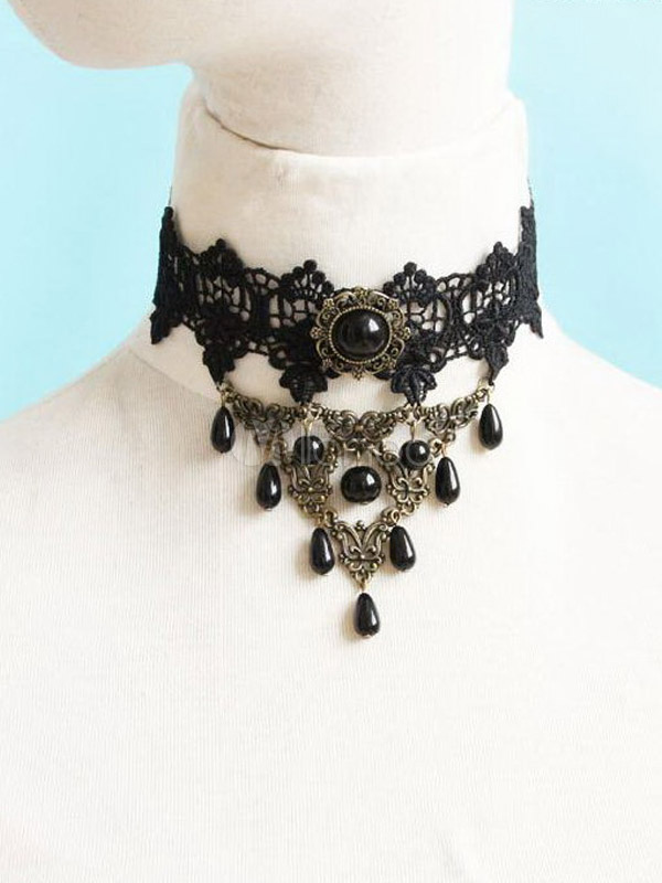 Gothic Black Acrylic Lolita Necklace $19.99 AT vintagedancer.com
