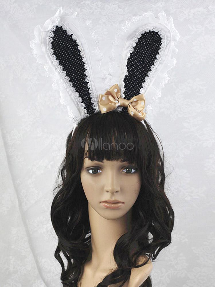 Black Bow Cotton Blend Rabbit Ears Lolita Headdress