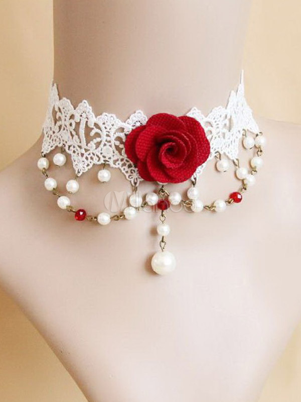 Red Flower Cotton Blend Classic Lolita Necklace $19.99 AT vintagedancer.com