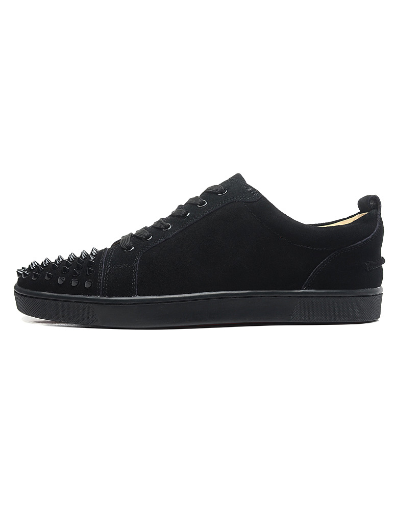 Unique Black Monogram Suede Round Toe Studded Sneakers For Man thumbnail