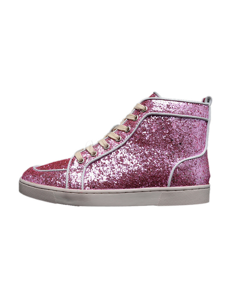 Pink Sequined Cloth Round Toe Grommets Glitter Sneakers For Men thumbnail