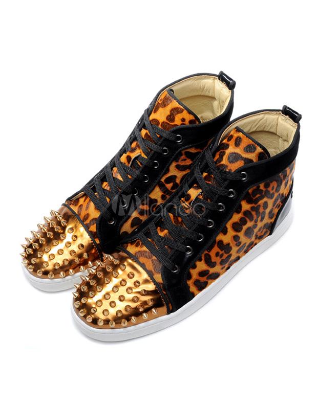 chaussures clout es multicolores motif l opard. Black Bedroom Furniture Sets. Home Design Ideas