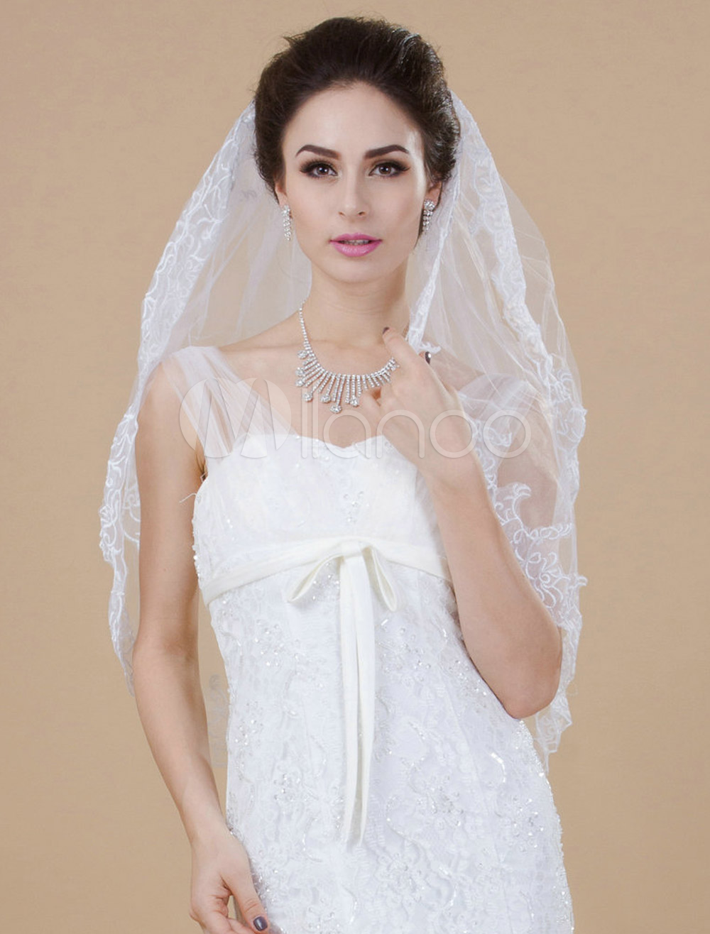 Two-Tier Wonderful Tulle Lace Wedding Elbow Veil For Bride