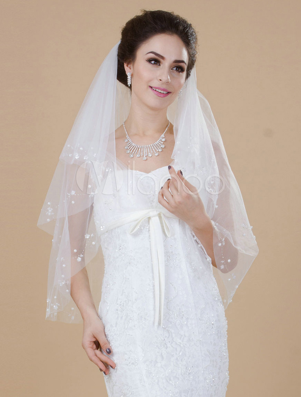 Two-Tier Drop Tulle Pearls Wedding Elbow Veil For Bride