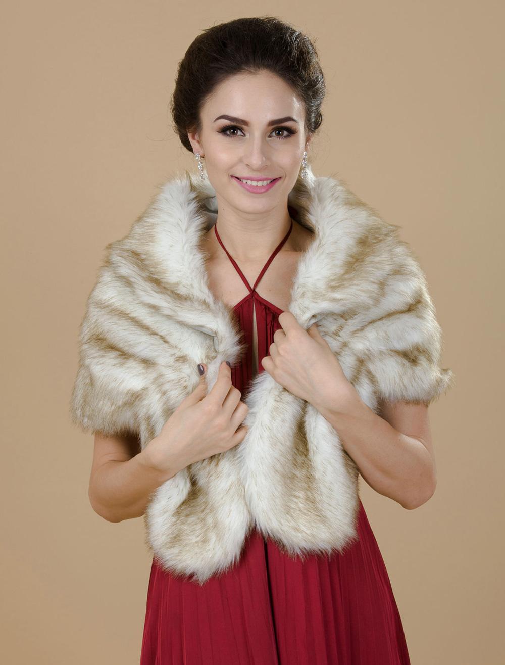Champagne Faux Fur Wedding Shawl For Bride $24.99 AT vintagedancer.com