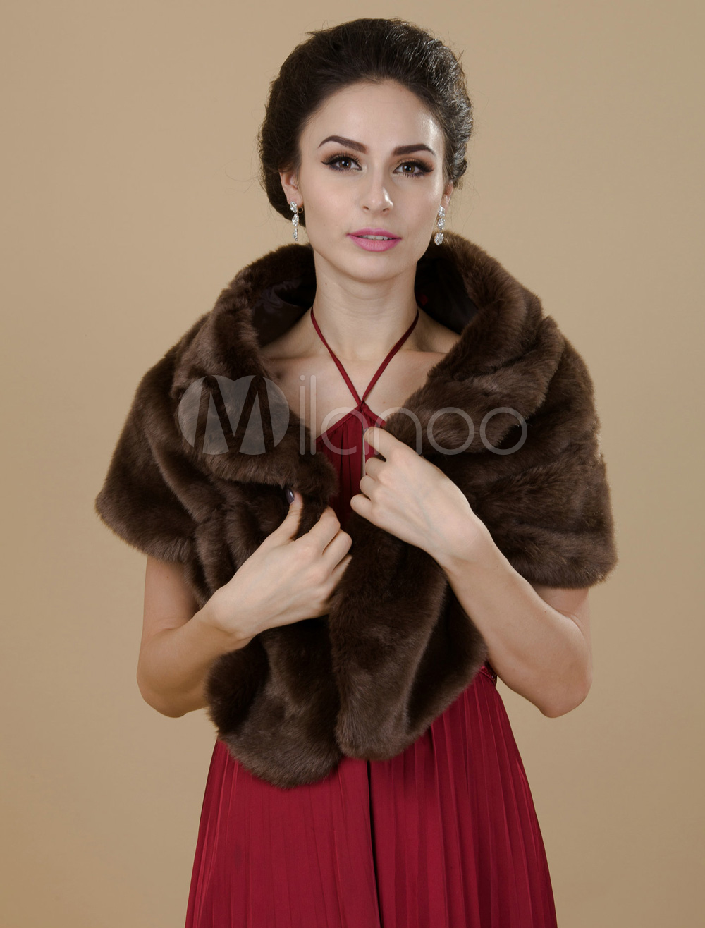 Chocolate Faux Fur Wedding Shawl For Bride $24.99 AT vintagedancer.com