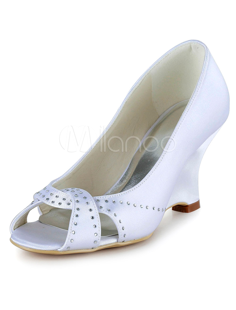 chaussure de marie blanche talon compens et peep toe avec strass milanoocom - Chaussures Compenses Blanches Mariage