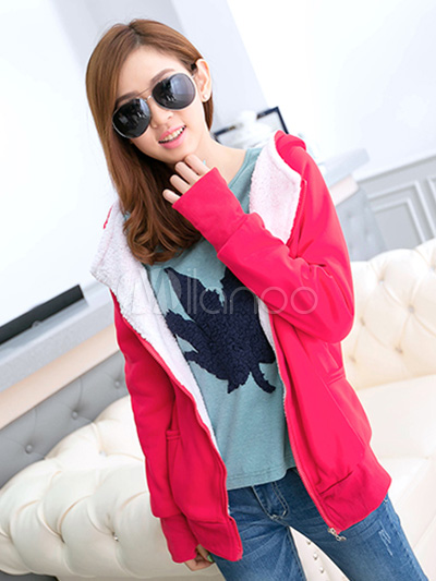 Long Sleeves Solid Color Pockets Cotton Hoodie For Woman