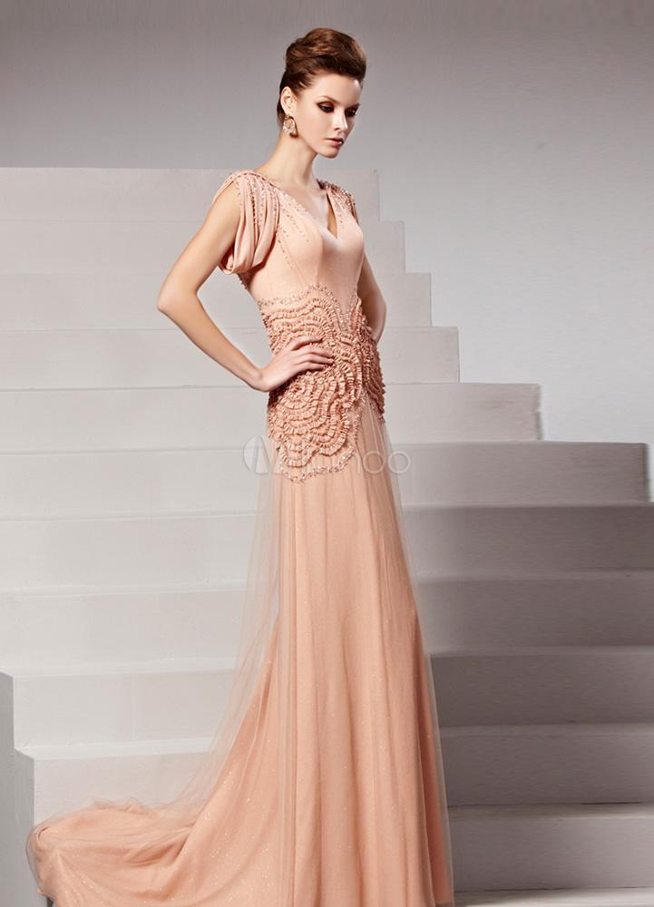 Nude Beading V-Neck Short Sleeves Sheath Evening Dress For Women (Wedding Evening Dresses) photo