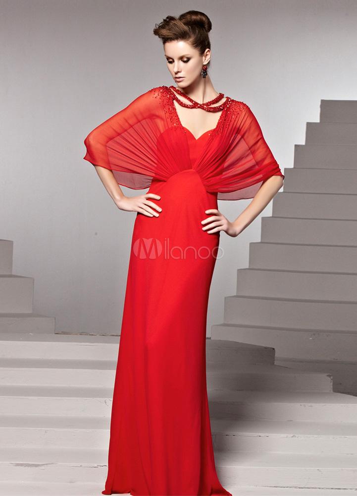 Red Beading V-Neck Sheath Elastic Silk Like Satin Sexy Evening Dress (Wedding Evening Dresses) photo