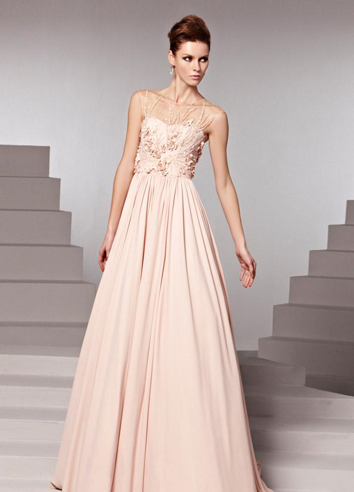 Pink Jewel Neck Beading A-line Sleeveless Chiffon Evening Dress (Wedding Evening Dresses) photo