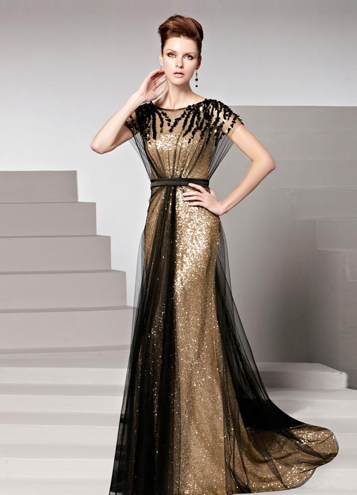 Gold Sequin Jewel Neck Short Sleeves Sheath Matte Satin Women's Evening Dress (Wedding Evening Dresses) photo