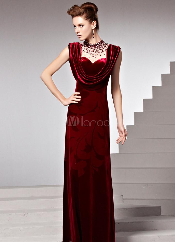 robe de soir e bordeaux fourreau en velours avec strass. Black Bedroom Furniture Sets. Home Design Ideas