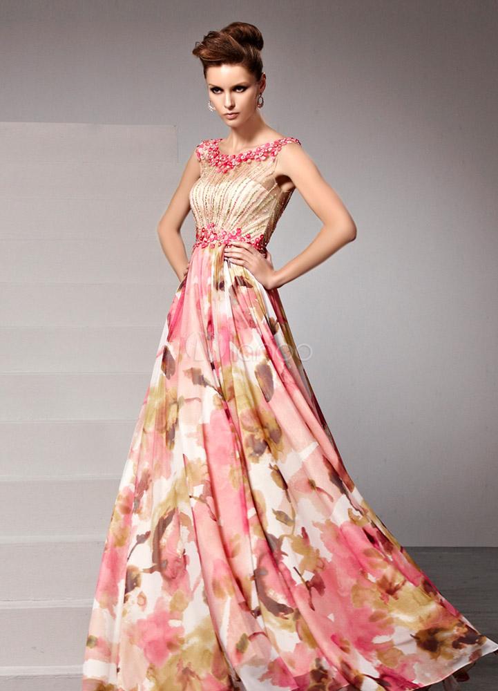 robe fascinante de soir e rose a ligne col rond imprim fleurie longueur plancher. Black Bedroom Furniture Sets. Home Design Ideas