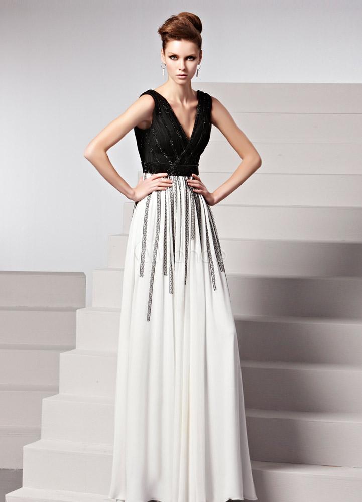 White Sequin V-Neck Sleeveless A-line Matte Satin Evening Dress (Wedding Evening Dresses) photo