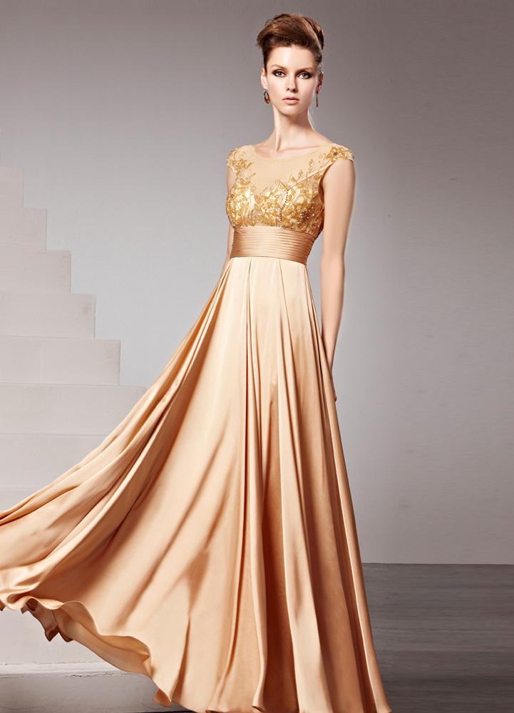Vestido de noche de chifón dorado sin mangas con escote redondo ,No.
