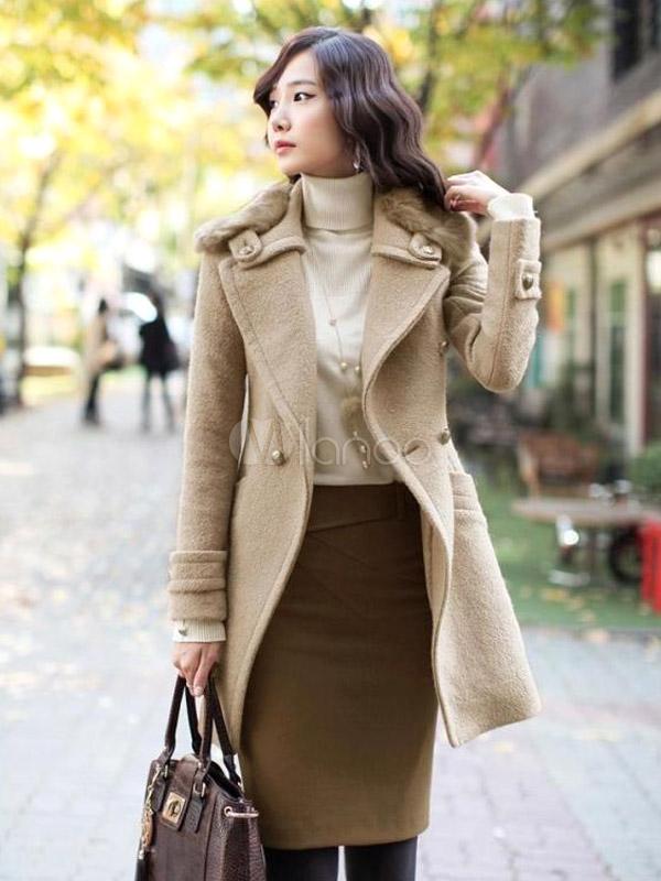 chic manteau femme l gant en laine m lang e revers crant mod le moulant. Black Bedroom Furniture Sets. Home Design Ideas