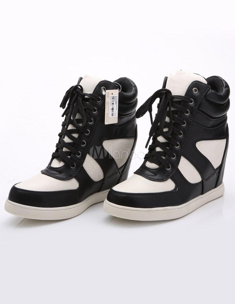 damen sneaker mit keilabsatz in wei und schwarz. Black Bedroom Furniture Sets. Home Design Ideas