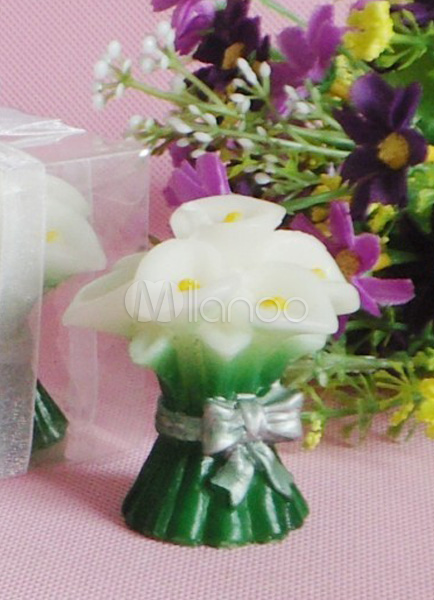 Lily Flower 4-Piece Pattern Wax Candle Favors