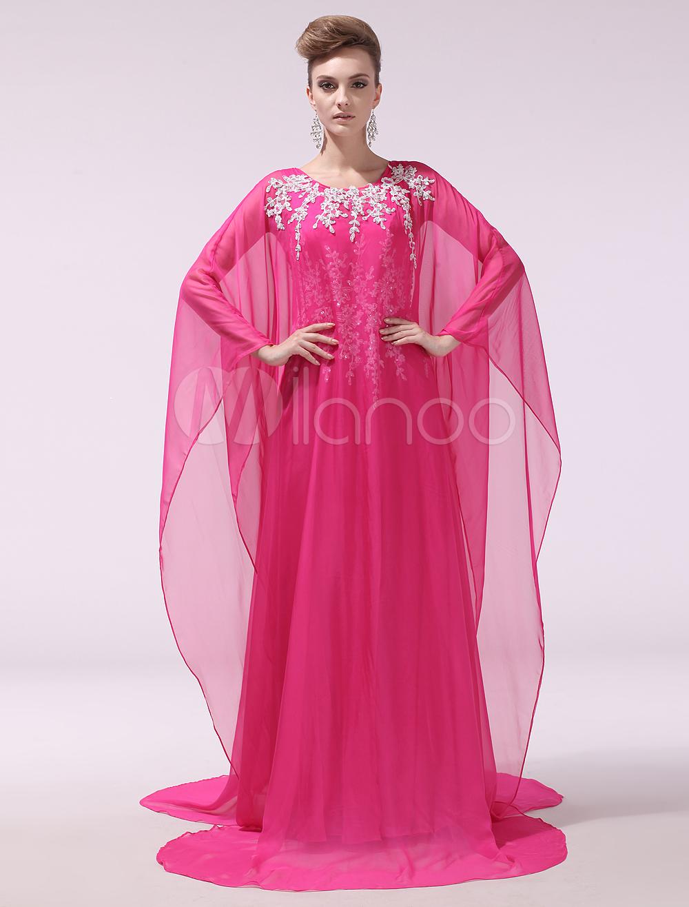 Chiffon Evening Dress Hot Pink 2 Piece Prom Dress V Neck Applique Sheath Party Dress with Train Milanoo (Wedding Evening Dresses) photo