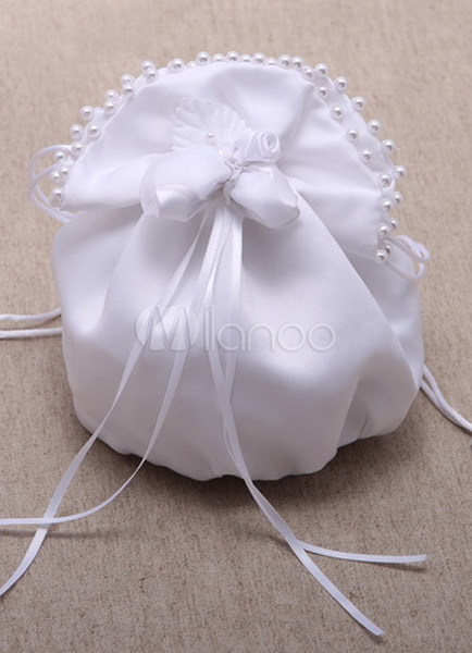 White Pearls Trim Bridal Wedding Handbag