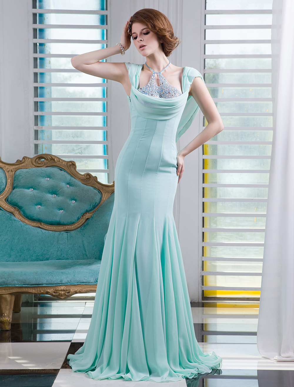 Mint Green Beading Halter Short Sleeves Mermaid Chiffon Evening Dress Milanoo (Wedding Evening Dresses) photo