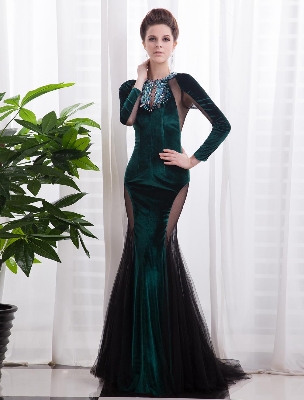 Dark Green Cut Out Mermaid Velvet Evening Dress with Jewel Neck Long Sleeves Milanoo (Wedding Evening Dresses) photo