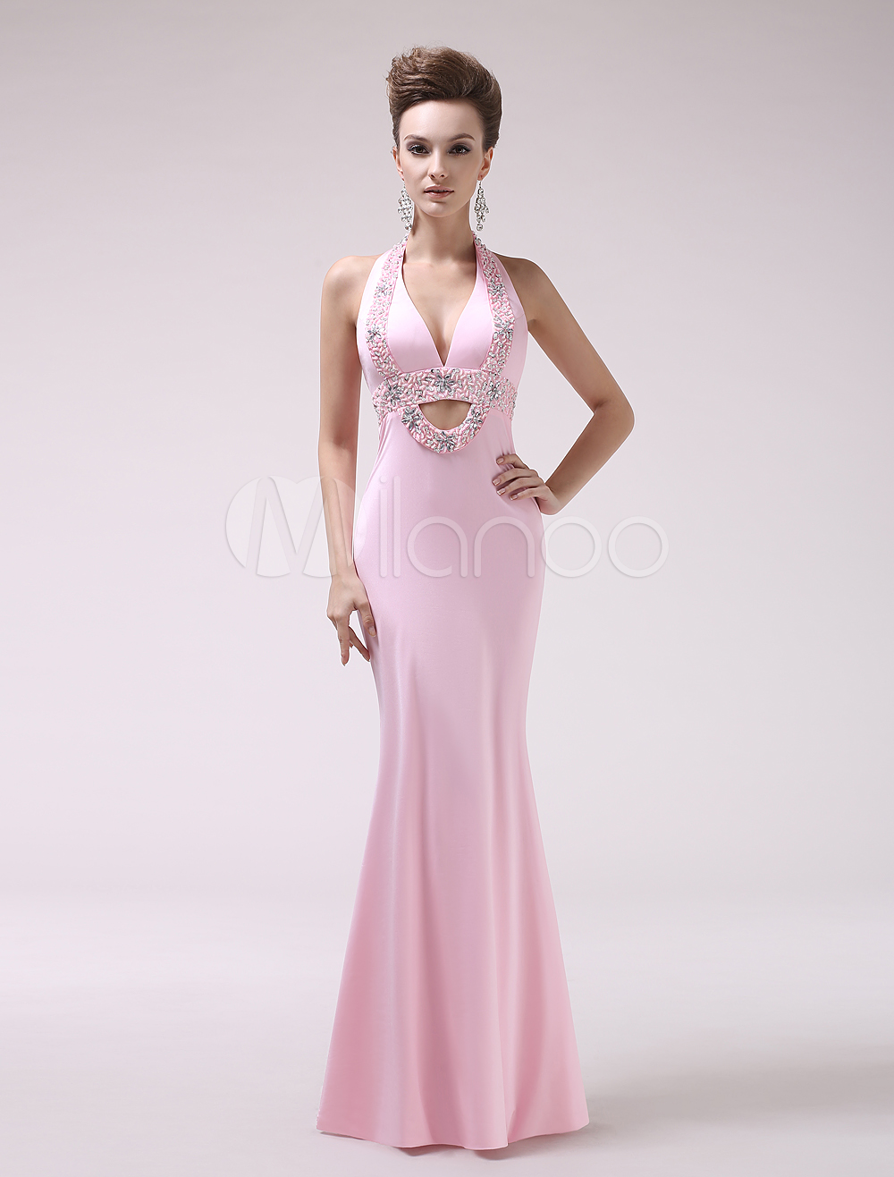 Pink Sequin Halter Mermaid Elastic Woven Satin Evening Dress Milanoo (Wedding Evening Dresses) photo