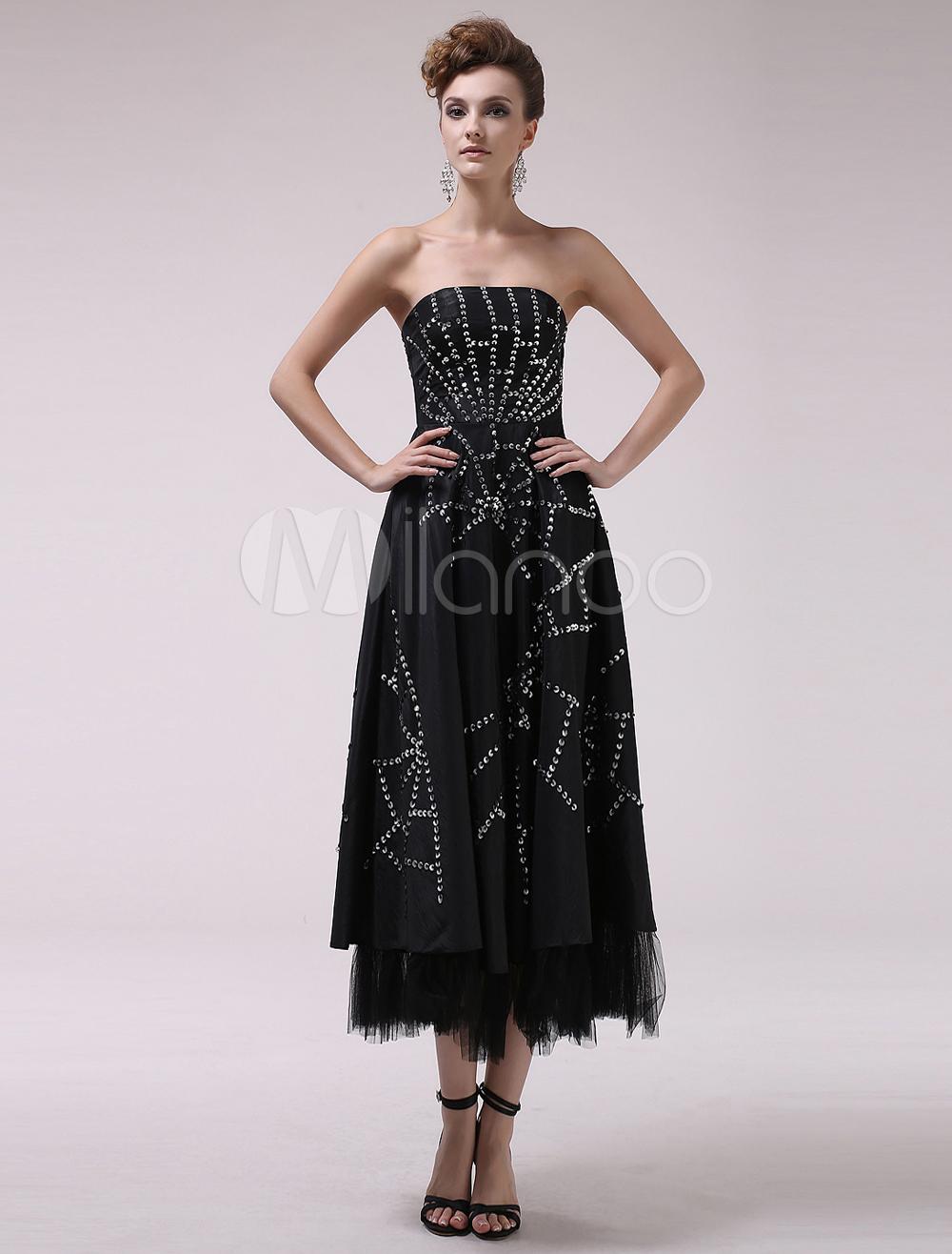Sexy Black Strapless Beading A-line Sleeveless Taffeta Cocktail Dress Milanoo