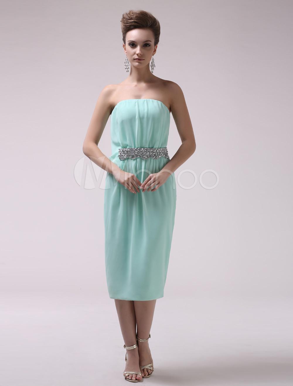 Mint Green Sheath Beading Strapless Chiffon Modern Cocktail Dress Milanoo (Wedding Cocktail Dresses) photo