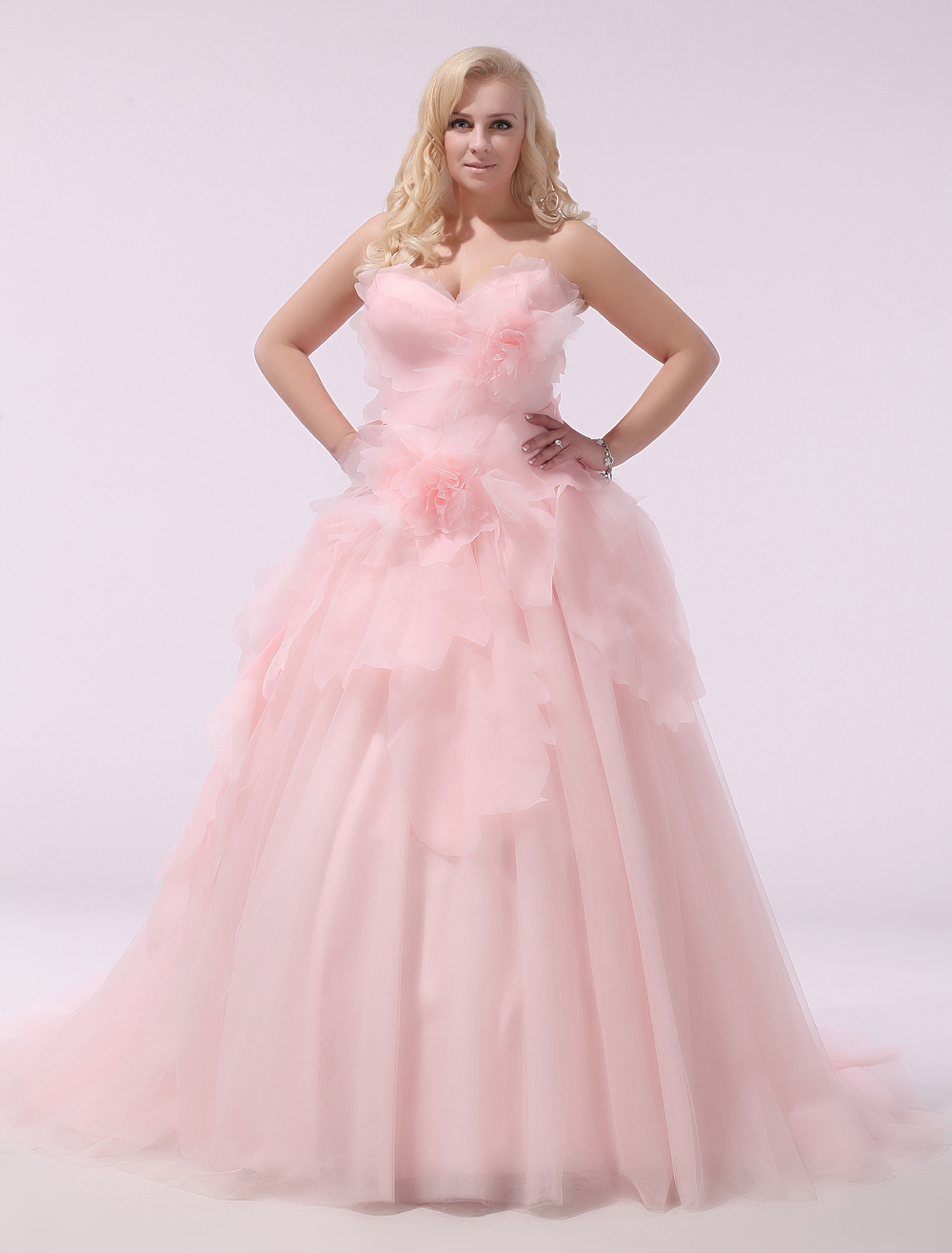 Plus Size Wedding Dress Pink Organza Bridal Gown Sweetheart Strapless A Line 3D Flowers Court Train Bridal Dress Milanoo (Pink Wedding Dress) photo