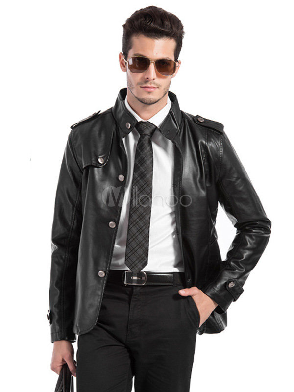Solid Color PU Leather Cool Leather Jacket for Men ...