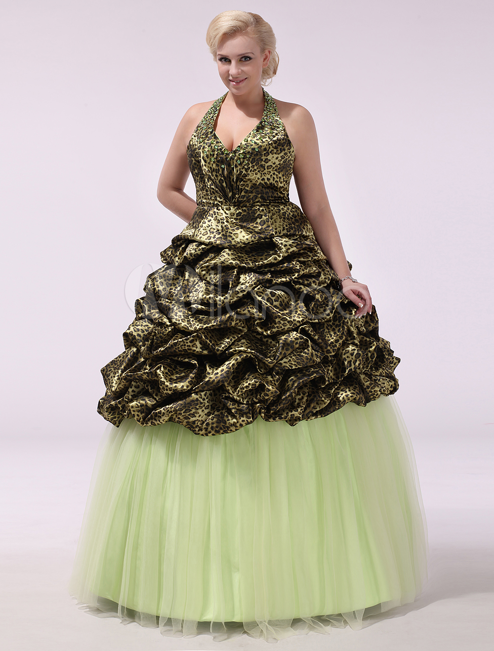 Quinceanera Dresses Plus Size Ball Gowns Green Tulle Halter Ruched Women Pageant Dresse Milanoo (Wedding) photo