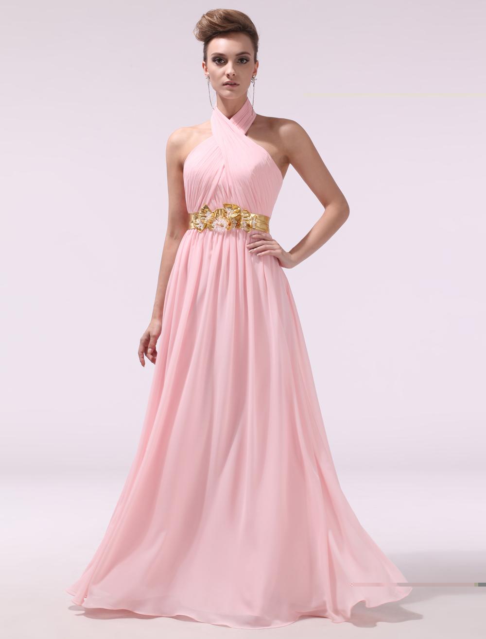Pink Pleated Halter Sleeveless A-line Chiffon Evening Dress Milanoo (Wedding Evening Dresses) photo